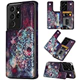 Coolden Designed for Samsung Galaxy S21 Ultra 5G 6.8 inch Case Credit Card Holder Luxury PU Leather Stylish Mandala Dual Layer Heavy Duty Protective Back Flip Wallet Cover Purple