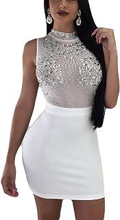 Women's Rhinestone Bodycon Mini Dress - Sexy Sleeveless Mesh Club See Through Dress