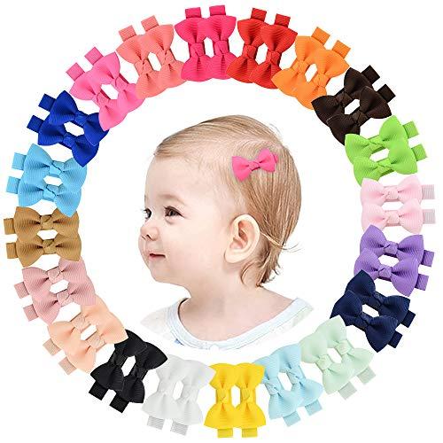 YHXX YLEN 40 lazos para el pelo para niñas de 2 pulgadas, lazos de grogrén, para niñas, adolescentes, niños, bebés, en pares, pequeños, 20 pares 795