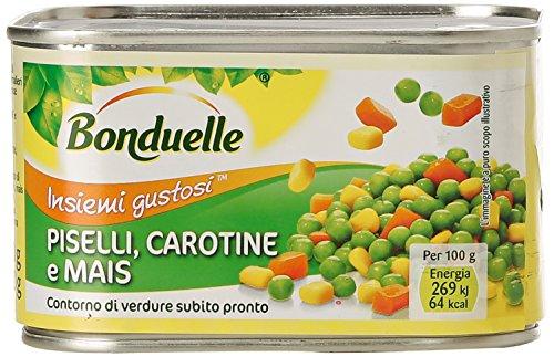 Bonduelle - Piselli, Carotine e Mais, Contorno di Verdure Subito Pronto - 400 g - [confezione da 16]