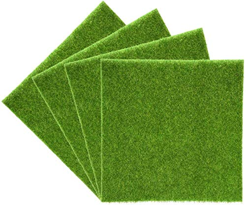 Yosoo Tapis de gazon artificiel Herbe en plastique pour intérieur et extérieur Gazon synthétique vert Décoration de maison 30cm*30cm, 4pcs