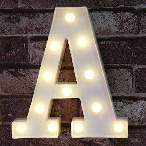 LED Marquee Letter Lights Sign, Light Up Alphabet Letter for Home Party Wedding Decoration A