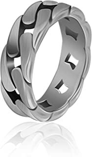 Sponsored Ad - Aumiso Stainless Steel 7MM Curb Link Chain Ring With Free US Ring Sizes For Men Boy Party Jewelry, 4 Colors