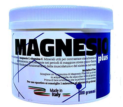 MAGNESIO Plus, Integratore di Magnesio | Vitamina C | 300 Grammi | Solubile | Senza Aggiunta Di Zuccheri |Acido Citrico | Vegano SENZA METALLI PESANTI