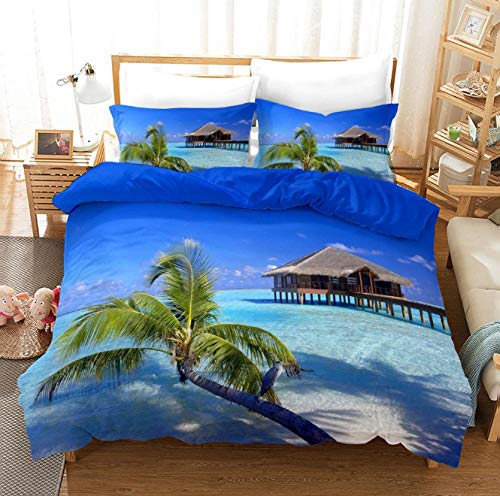 GSYHZL Ultra Soft Double Duvet Cover,Beach 3d king bedding set, universal single bed printing duvet cover and pillowcase for boys and girls-F_259*229cm(3pcs)