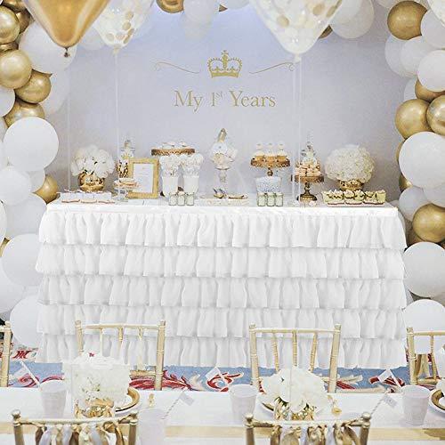 DishyKooker Flauschigen Chiffon Tisch Rock tischdecke für Party Hochzeit Geburtstag Dekoration Rosa 1,83 m * 0,77 m Haushalt