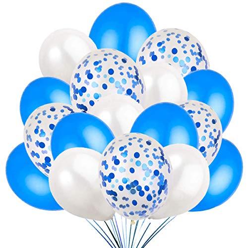 60 Globos Azul Blanco y Globos de Confeti Confetti Balloon. 50 Globos en Latex + 10 Transparente con Confeti para Fiesta de Cumpleaños y Bautizo