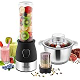 YISSVIC Blender Mixeur Multifonctionnel Blender Smoothie 3 en 1 Bouteille Portable...