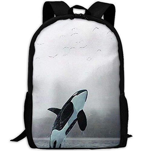 Wfispiy Killer Whale Laptop Rucksack, Reisecomputer für Damen & Herren, Diebstahlsicher, wasserdicht