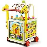 TikTakToo Lauflernwagen Holz Baby Gehhilfe Motorikwürfel Lauflernhilfe Walker Gehfrei Kind mit höhenverstellbarem Griff