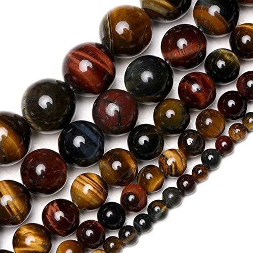 Venta al por mayor AAA Cuentas de piedra natural Cuentas de ojo de tigre púrpura Cuentas de piedra 4 mm 6 mm 8 mm 10 mm 12 mm Para joyería g Pulsera Collar-Ojo de tigre, 4 mm Aproximadamente 91 piezas