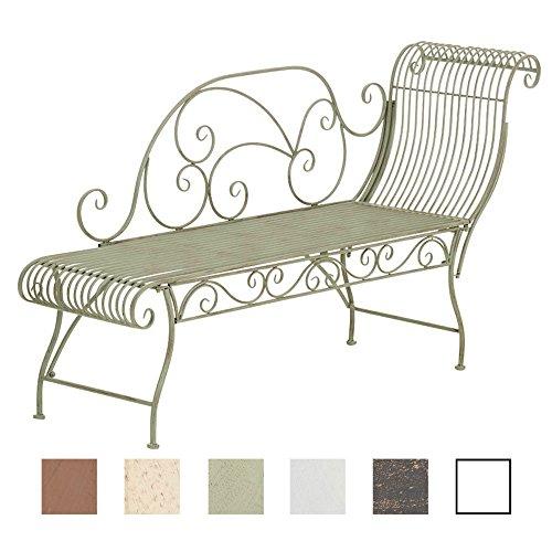 CLP Banc de Jardin Karma en Fer Forgé - Banc avec Récamière - Banquette de Jardin Style Romantique - Chaise Longue de Jardin en Fer - Couleur: Vert Antique