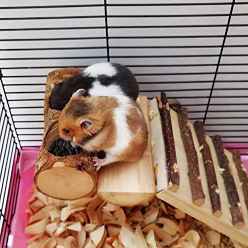 WUYANSE Apfel Holz Protokolle Hamster Spielzeug Set Kauen Brücke Spielzeug Klettergerüst Plattform Für Chinchillas Meerschweinchen Zwerg Maus Ratte Kleintier