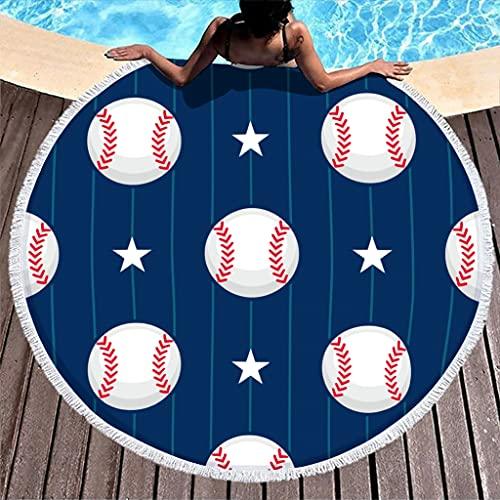 Toalla de playa redonda con diseño de estrella, de microfibra, ligera, para dos personas, color blanco, 150 cm