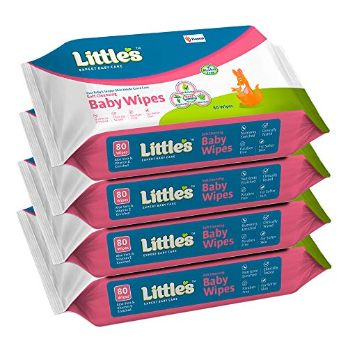 Little's Soft Cleansing Baby Wipes with Aloe Vera, Jojoba Oil and Vitamin E (80 wipes) pack of 4