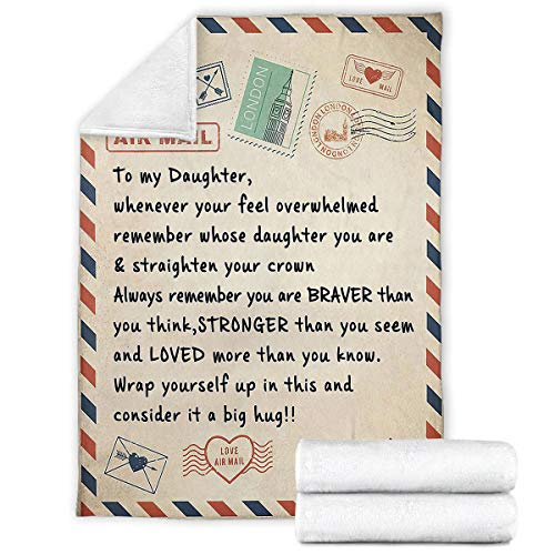 iBedding Letter to Daughter Gift to Girl from Dad Premium Throw Blanket Soft Flannel Blankets for All Seasons for Couch Bed Sofa 30'x40'