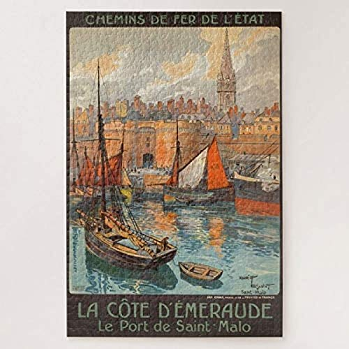 Vintage Cote d'Emeraude Saint Malo Port 500-piece puzzle High Quality Colorful Jigsaws Fun Game Toy For Boy To Use Whole Brain Functions