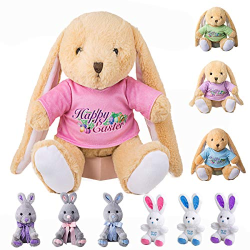 GSUIVER Easter Bunny Rabbit Stuffed Animal Plush Toy 9 inches Best Gifts for Babies Kids Boys Girls Pink