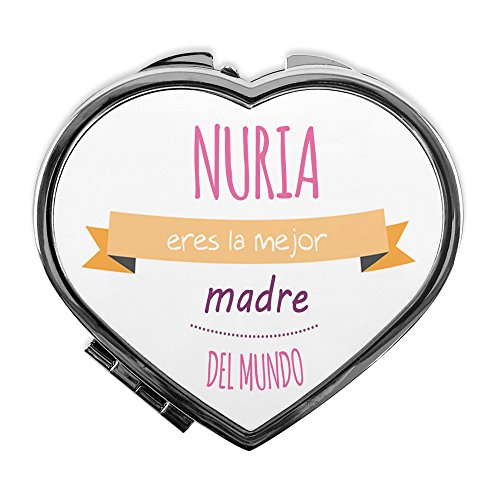 LolaPix Espejo de Mano Personalizado con Nombre/Texto. Regalos Dia de la Madre Personalizados. Varios Diseños y Formas. Espejo de Bolsillo Personalizado CORAZÓN Mejor Madre