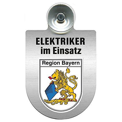 Einsatzschild für Windschutzscheibe incl. Saugnapf - Elektriker im Einsatz - 309489- Wappen nach Wahl - 309489 Farbe Region Bayern