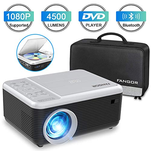 Mini Beamer, FANGOR Heimkino Beamer unterstützt 1080P Full HD, 4500 Lumen Bluetooth Beamer mit DVD-Play-Funktion,Kompatibel mit TV-Stick, HDMI, USB, PS4, Xbox, iOS/Android Smartphone