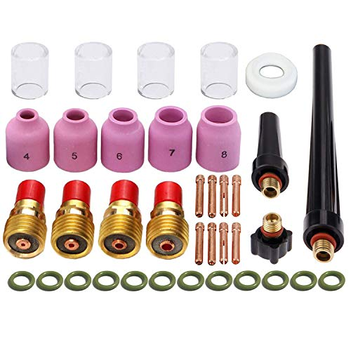 Zinger 37pcs TIG Welding Torch Gas Lens Kit Accessories for DB SR WP 9 20 25 Tig Welding Torch,with #10 Pyrex Cup+Alumina Nozzle+Collet+Gas Lens Collets Body +Cup Gasket etc