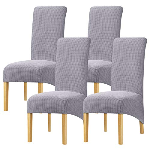 YZFZP Large Size Dining Room Hotel Fleece Fabric Stretch Chair Cover Grey 4 Pieces