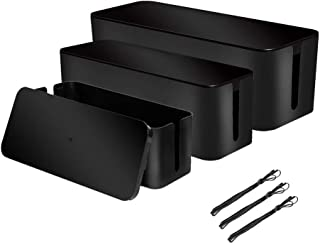 [Set of 3] 3 Cable Management Boxes + 3 Wire Ties, Large Cord Box Organizers to Hold and Hide Power Strip Charger Adapter Power Cord Charging Station USB HUB(Black)