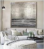 FUMOJI Cuadros sobre lienzo para pared de color gris plateado grande abstracto, moderno, decoración de pared para salón, sin marco (70 x 70 cm)