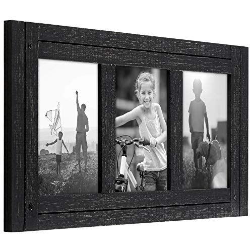 Americanflat Collage Picture Frame with Three 4x6 Displays in Charcoal Black - Textured Wood and Polished Glass - Horizontal and Vertical Formats for Wall and Tabletop (WB0406DFBLK3OP)