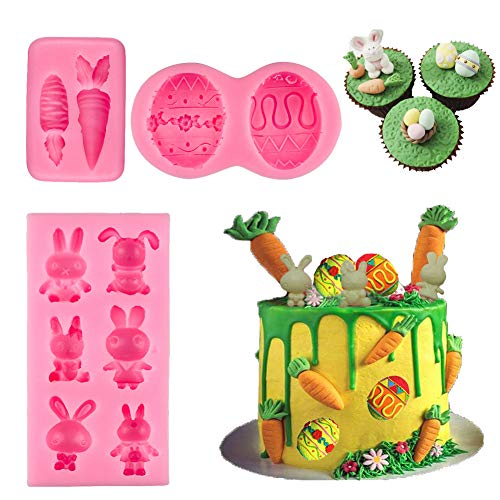 BUSOHA Easter Day Mold - Easter Day Bunny Mold/Egg Mold/Carrot Mold Fondant Silicone for Cake Baking Cake Topper Decorating Chocolate Candy Mini Soap Wax Crayon Polymer Paper Clay Tools(3 PACK)