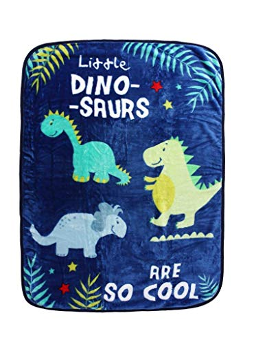 Dinosaurs Fleece Blanket Cosy Soft Animal Design Children, Lightweight Fluffy Printed Plush Cartoon Solid Kids Throw For Boys/Girls, Super Absorbent Snuggle Bed Couch, Dinosaur Friends, 110x140 cm,