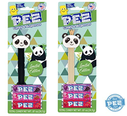 PEZ Panda Limited Edition Pez Dispensers 2 Character Bundle Black Panda and Tan Panda with Crown on Blister Card Packges with 3 Rolls of Candy
