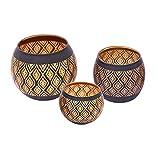 Flanacom - Portavelas de té oriental de estilo vintage, estilo marroquí, portavelas de metal, decoración para el hogar o el jardín, colores antiguos, marrón, 3er Set Windlichter