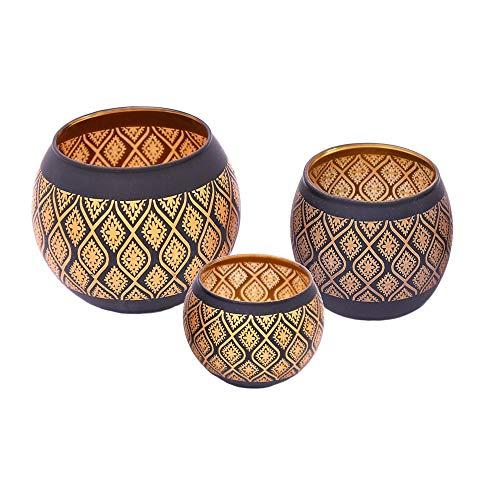 Orientalische Windlichter Set Schwarz Gold - Teelichter Teelichtgläser Windlicht - Orientalisches Marokkanisches Teelicht Teelichthalter - Moderne Dekoration Wohnung oder Garten (3er Set Windlichter)