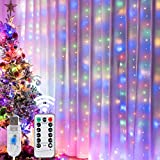 HOME LIGHTING Window Curtain String Lights, 300 LED 8 Lighting Modes Fairy Copper Light with Remote, USB Powered Waterproof for Christmas Bedroom Party Wedding Home Garden Wall Decorations, Multicolor