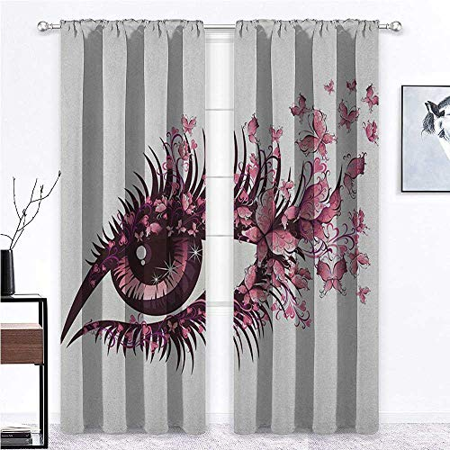 Nomorer Short Curtains Butterflies Thermal Insulated Drapes Fairy Female Eye with Butterflies Eyelashes Mascara Stare Party Makeup 84