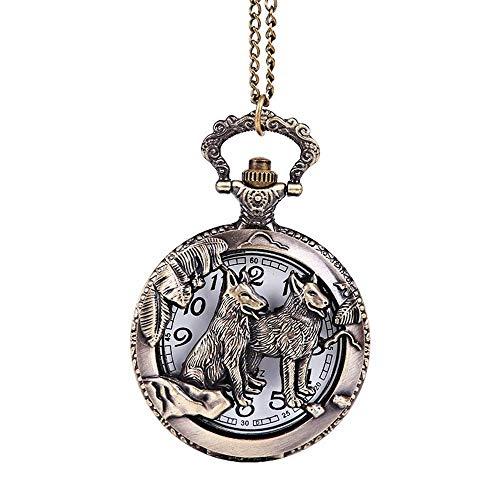 Zegarek kieszonkowy z brązu, warto mieć - zodiak rzeźbiony w brązie zwierzę pies styl vintage lojalnościowy pies zegarek kieszonkowy zegarek duży dla mężczyzn kobiet (kolor: wolny rozmiar)