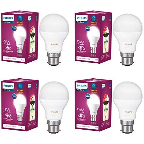 Philips Base B22 9-Watt LED Bulb (Pack of 4, White)
