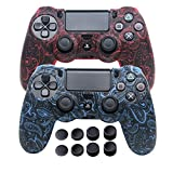 Silicone Cover for PS4 Controller - DualShock 4 Skin Water Printed Protector Case Set for Sony PS4, PS4 Slim, PS4 Pro - 2 Pack Leaf PS4 Controller Skins - 4 Pairs PS4 Thumb Grips - Red & Blue