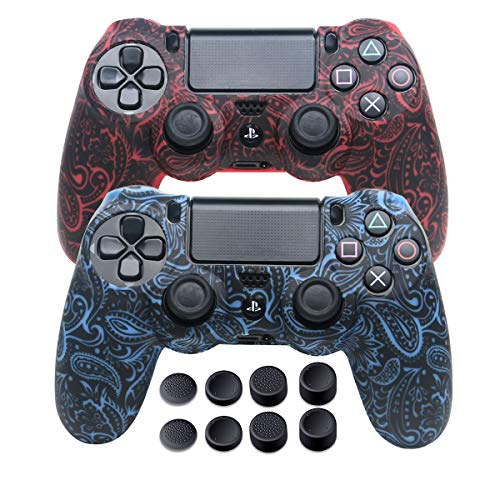 Skins for PS4 Controller - DualShock 4 Silicone Skins Water Printed Protector Case Set for Sony PS4, PS4 Slim, PS4 Pro - 2 Pack Skull PS4 Controller Cover - 4 Pairs PS4 Thumb Grips - Red & Blue