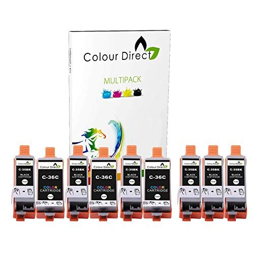 Colour Direct - 9 (3 Conjuntos + 3 Negro) Compatible Cartuchos de Tinta Reemplazo por Canon PGI-35 & CLI-36 Pixma iP100, iP110, iP110B Impresoras (1509B001, 1511B001)