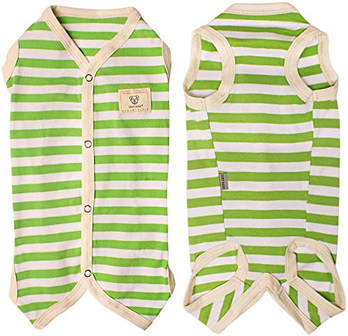 TONY HOBY 男女わけ 犬のパジャマ 薄い 夏用 犬の術後服 100%コットン生地 小型犬服 犬用Tシャツ グリーン