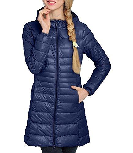 Showlovein Damen Ultra Leicht Lang Kapuzen Jacke Warme Steppjacke Übergangsjacke Winter Mantel (XXX-Large, Dunkelblau)