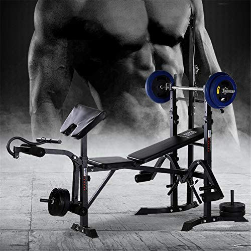 Adjustable Fitness Bench with Dumbbell Rack, Utility Barbell Lifting Press Exercise Weight Bench, Home G-ym Strength Training Sit Up Abs Benchs Weight-lifting Machine (50.7x31.5x100 inch)