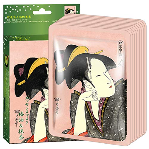 MITOMO 【JP005-A-1】Facial Face Mask Paper Sheet Japan Skin Care Smoothing Anti-aging Cleansing Moisturizing Camellia Flower oil+Matcha Essence Mask Nature made Freshly packed Japan 【10 pieces】