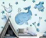 XUNZHAOYH Mural 3D Pared,Personalizado 3D Grande De Dibujos Animados Baby Dolphin Marine Life Fondo Fondo Decoración De La Pared Sofá Papel Tapiz Murales Sala De Estar,(6.5X3.2) Ft