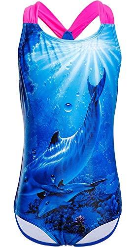 DUSISHIDAN Badeanzüge für große Mädchen, Einteiler Bikini Badeanzug,Blau mit Delphin,M