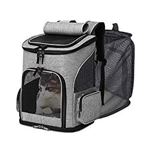 IREENUO Cat Backpack Carrier, Expandable Mesh Breathable Foldable Pet Travel Bags for Small Dogs Cats Rabbits Under 17lb