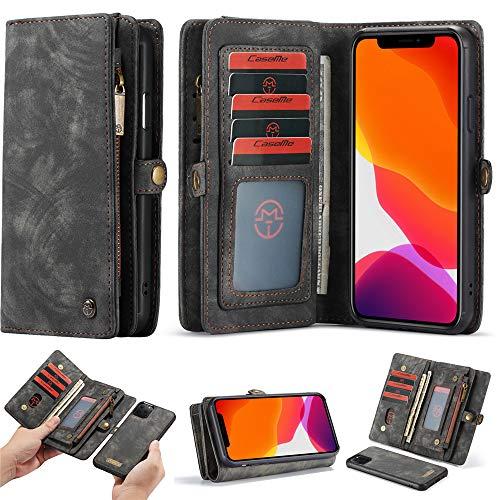 Esing Funda para iPhone 11 Pro, funda de piel con cierre tipo cartera para iPhone 11 Pro, con ranuras para tarjetas de crédito, color negro
